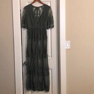 Boho green lace dress size small